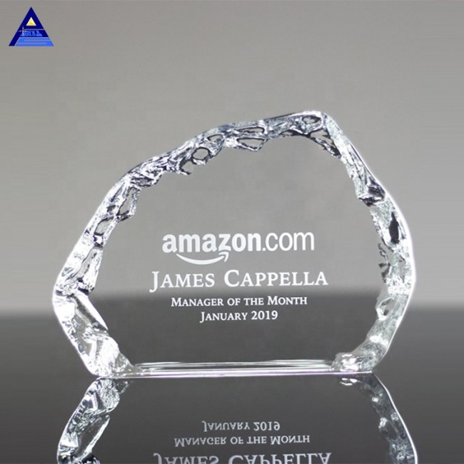 Wholesale Custom Shape Optical Engraving Logo Crystal Iceberg Award Trophies