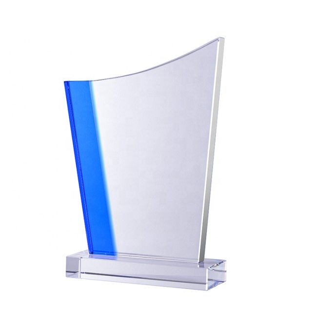 Wholesale Different Shape Engraved Blue Crystal Glass Awards Plaque For Business Gifts