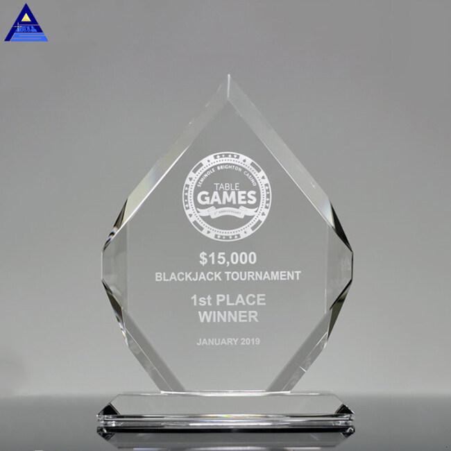 Wholesale Custom Logo Design Flame Shape Craft Crystal Shield Award
