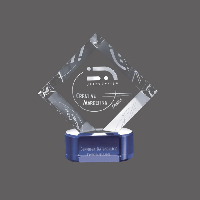 Wholesale blue base transparent three-dimensional multi-faceted custom fashion crystal award