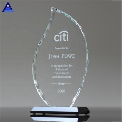 Pujiang Custom Flame Shaped Blank Glass Crystal Awards Plaque For Corporate Gifts
