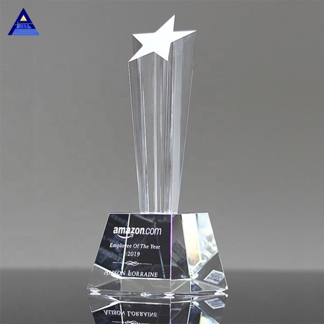 Hot Sale Monument Crystal Awards Use Custom Logo Clear K9 Star Shaped Crystal For Business Gift
