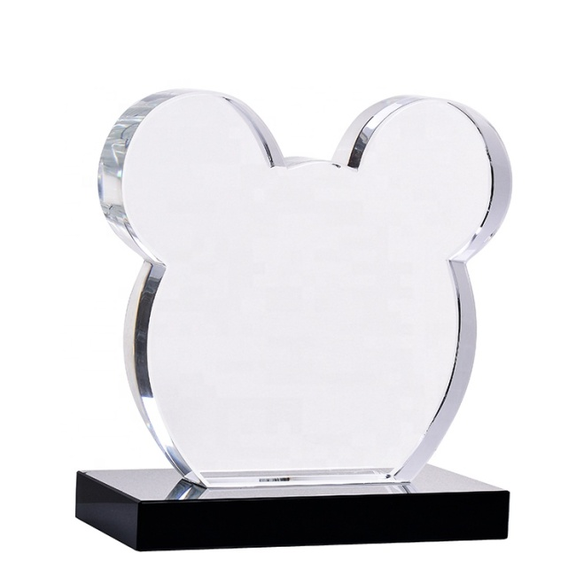 Lovely Mouse Design Crystal Cube Trophy With Black Base For Business Reward