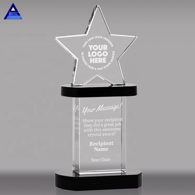 FS-D010 Customized Engraving Shining Star Crystal Award Trophy