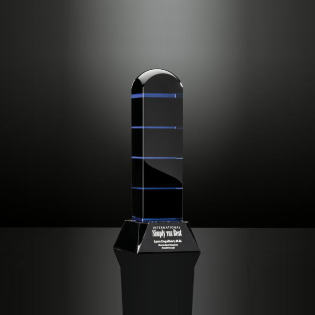 China Wholesale OEM Service Engraved Black Crystal Obelisk Trophy Award for Souvenir Gifts