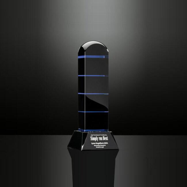 China Wholesale OEM Service Engraved Black Crystal Obelisk Trophy Award for Souvenir Gifts