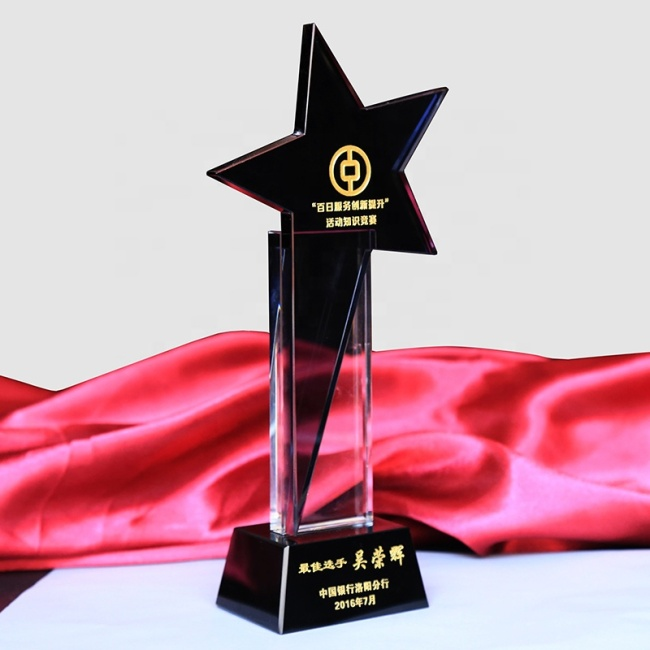 Business Souvenir Wholesale Clear Star Shaped Crystal Plaque Award Trophy