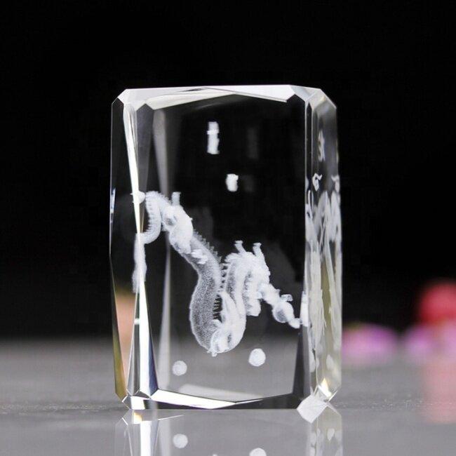 3d Laser Engraved Crystal Cube Zodiac 3d Laser Crystal Dragon for Table Decoration