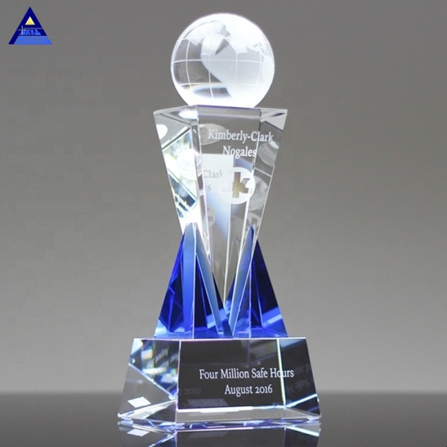 Personalized Destino Glass Crystal Globe Ball With Stand Crystal World Ball
