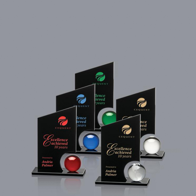 New Design engraved logo Decorative Round Ball Shaped Clear Glass Crystal  award trophy