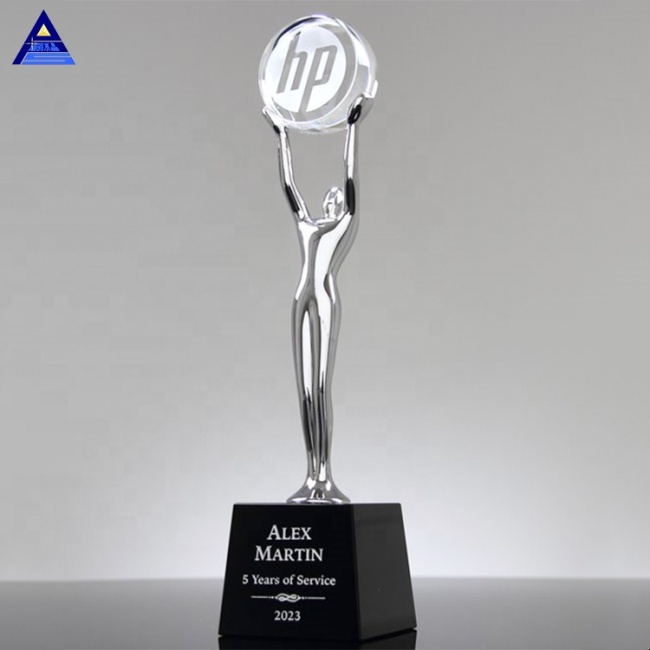Custom New Design Modern Engraving Achievement Crystal Glass Award Trophy
