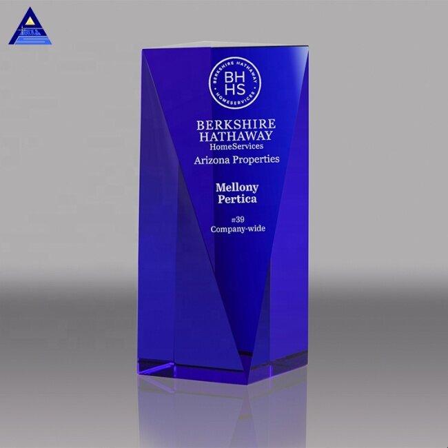 Manufacturer Wholesale Blue Goldwell Crystals Trophy For UV Printing Or Laser Engraving