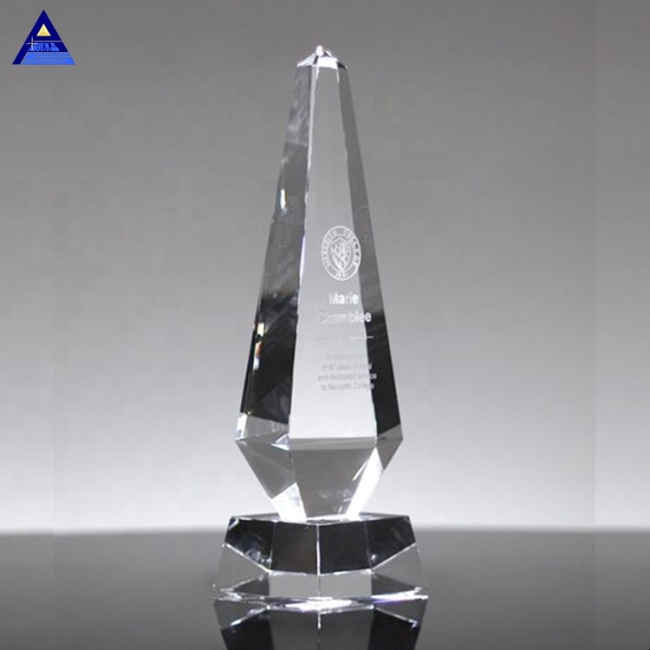 Hot Sale Corporation Business Pillar Of Excellent Crystal Glass Award Trophy
