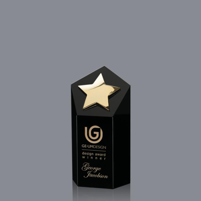 Custom wholesale high quality crystal trophy K9 metal star trophy award