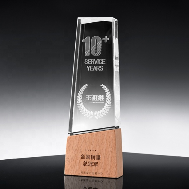 Crystal Manufacture Supplier Factory Price Customized Color Print Blank Crystal Wood Trophy Laser Engraving Crystal Block Award