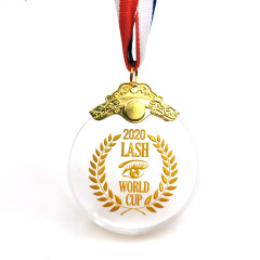 Cheap Wholesale Crystal Ribbon Award Custom Glass Medals Sports Medal For Souvenir Gifts