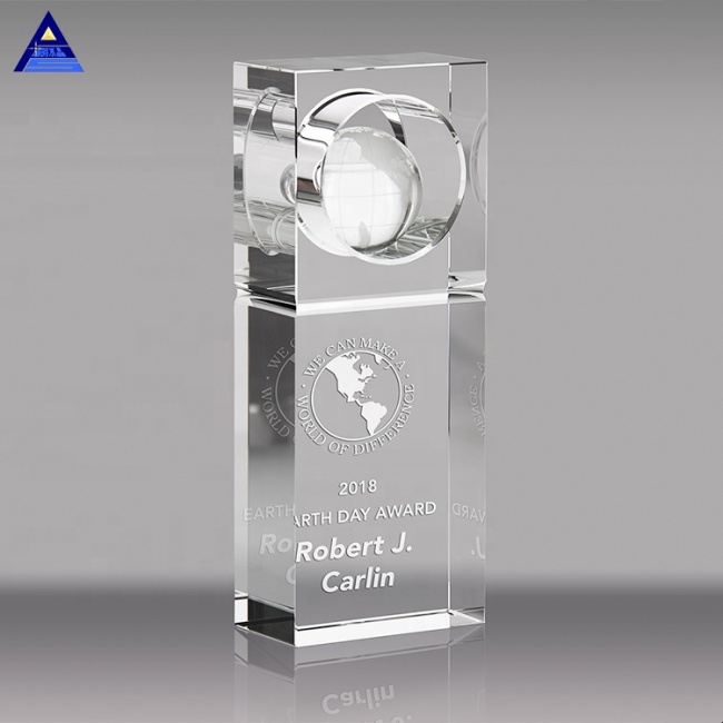 Wholesale Globe Crystal Trophy Awards Custom Crystal Craft Gifts