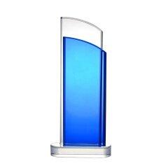 2020 New 3D Laser Blue K9 Crystal Award Trophy Glass Plaque for Logo Printing Engraving