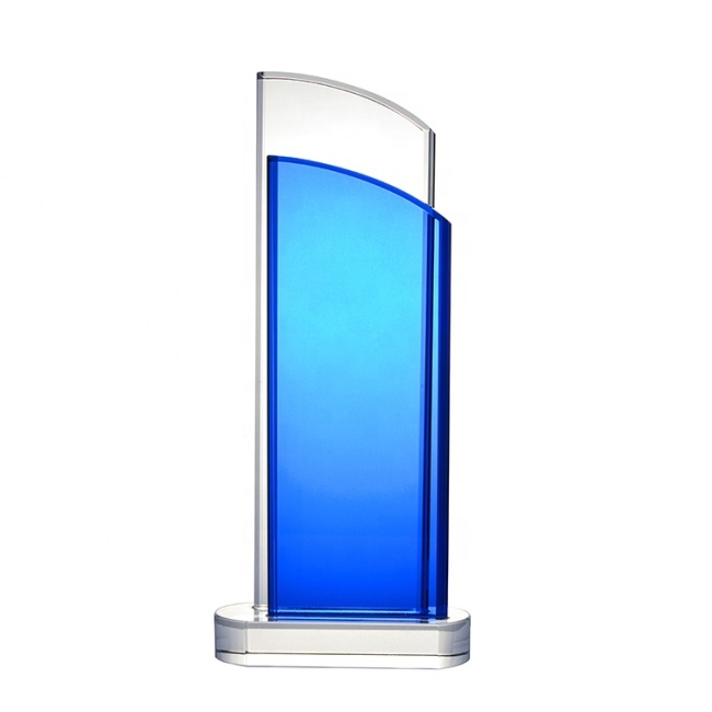 2020 New 3D Laser Blue K9 Crystal Award Trophy Glass Plaque for Logo Printing Engraving