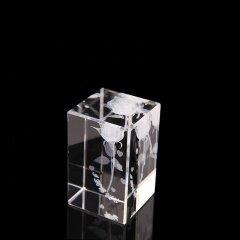 Laser Rose 3D Laser Glass Crystal Cube Blank Laser Engraved Crystal Cubes With Base LED For Crystal Gift