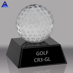 Wholesale Cheap Design Decorative Sports Souvenir Gifts Ball Crystal Golf Ball With Black Base