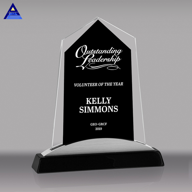 Black And Clear Color Crystal Trophy Engraved Crystal Glass Plaque With Custom Etching