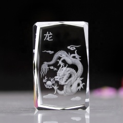 3d Laser Engraved Crystal Cube Zodiac 3d Laser Crystal Dragon for Table Decoration