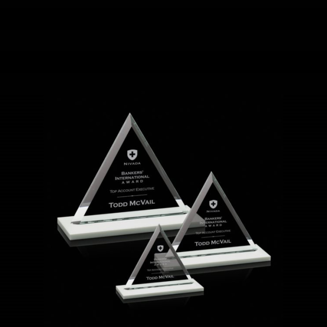 Customized Engraved Triangle Mountain Shape Crystal Plaque Award With Blank Base