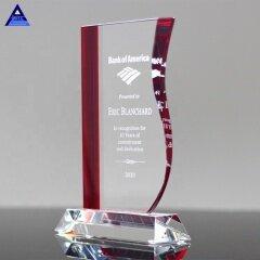 Wholesale Stylish Design Entrepreneur Promotion Gifts Red Wave Custom Engraving Crystal Award Trophy