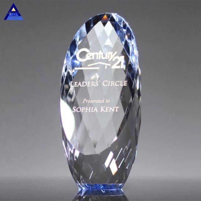 Gold Engraved Gem-Cut Ellipse Crystal Trophy for Business Corporate Awards
