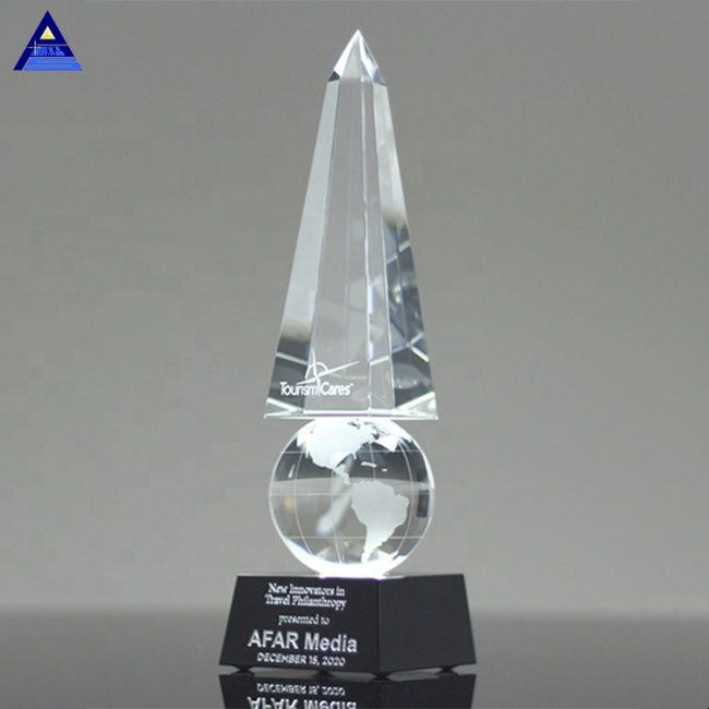 Custom Crystal Pillar Monumental Globe Obelisk Trophy for Majestic Business Awards