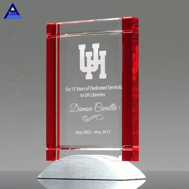 Wholesale Logo Engraved Clear Glass Crystal Success Plaque Trophies
