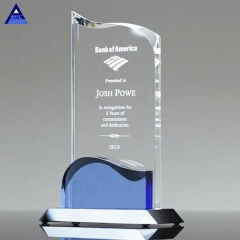 Cheap Souvenir And Business Gift Flame Shape Luminous Wave Crystal Award Trophy