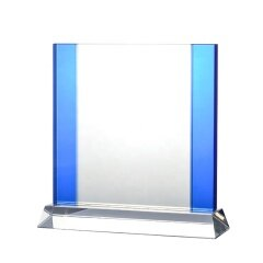 Custom Clear Blue Crystal Trophy Plaque With New Design