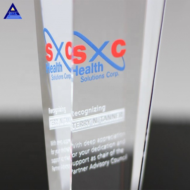 Free Design Custom Made Steadfast Crystal Award Trophy With Engraved Logo