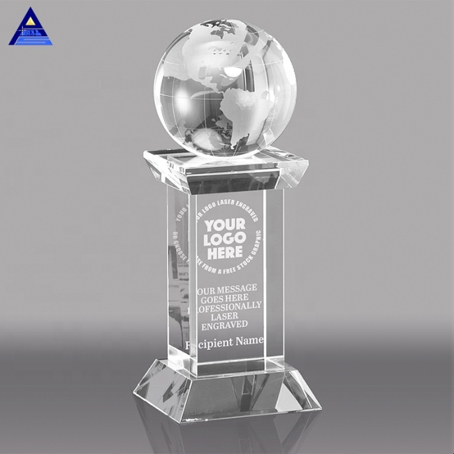 New Custom Crystal Globe Elegance Trophy Award Centerpieces