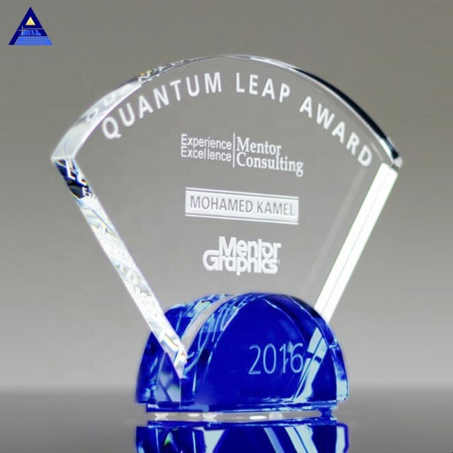 Wholesale High-Quality Transparent Empty Radiant Cobalt Custom Logo Crystal Glass Trophy