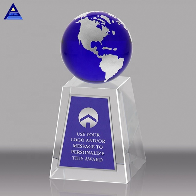 Custom Crystal Blue Accented Global Wedge Globe Trophies And Awards