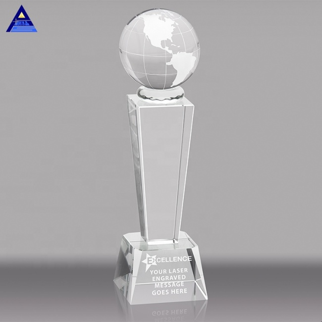 Custom Atlantis Tower Clear Glass Crystal Globe Award Trophy