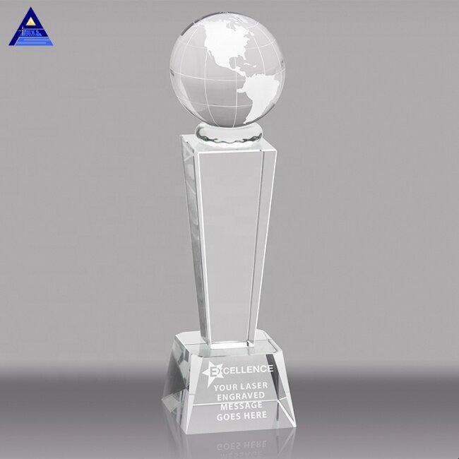Custom Atlantis Tower Clear Glass Crystal Globe Award Trophy