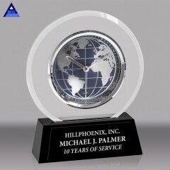 Wholesale Custom Black Base Clear World Globe Souvenir Crystal Award Trophy For Cheap Sale