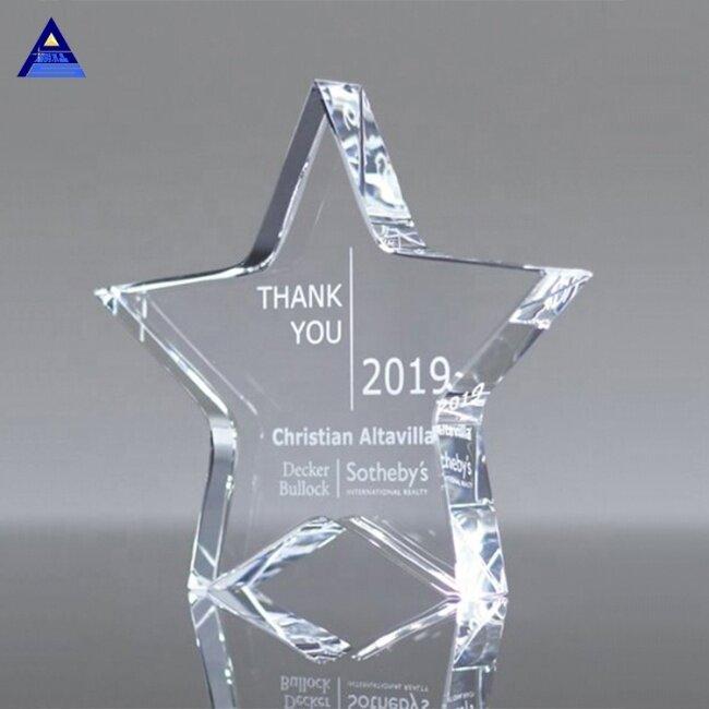 Home Decoration Wholesale Polished K9 Crystal Star Award For Trophies