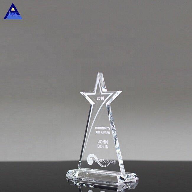 Custom Logo K9 Blank Sublimation Star Shape Landon Crystal Souvenir Trophy Awards