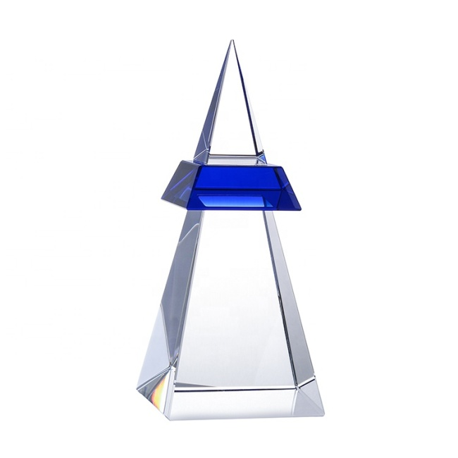 Pagoda Mountain Peak Shape Crystal Trophy Award,Custom Unique Glass Trophy