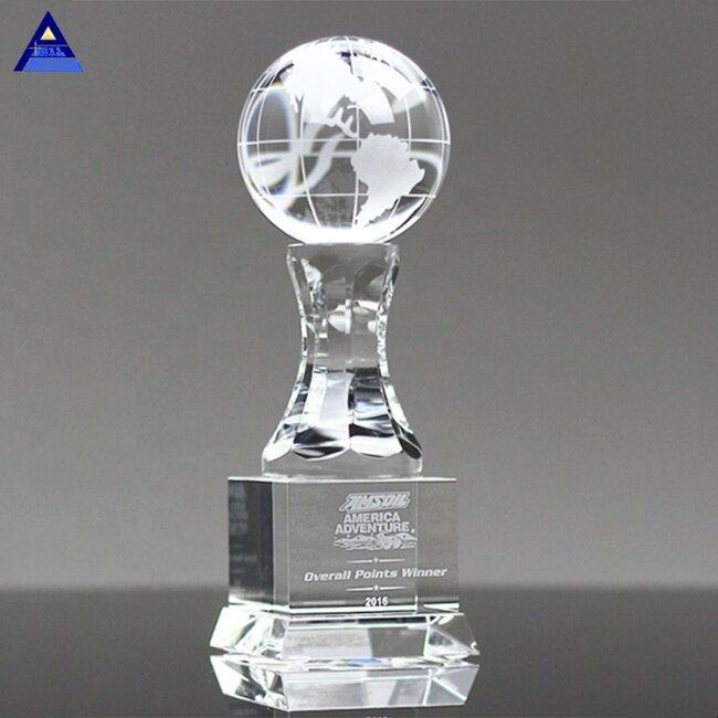 K9 Clear Crystal Globe Trophy ,Environmental Anabella World Globe Trophy