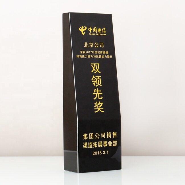 Wholesale Blank K9 Black Beveled Crystal Glass Trophy Custom Logo Photo For Business Gift Souvenirs
