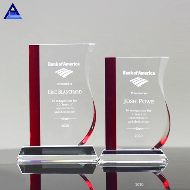 Wholesale Stylish Design Entrepreneur Promotion Gifts Red Wave Custom Engraving Crystal Award Trophy