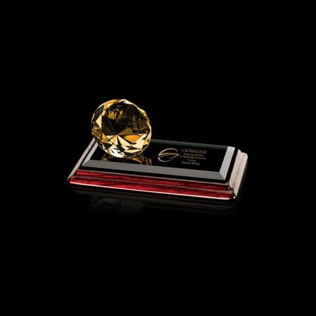 2020 New Wholesale Yellow Wood Base Layered Diamond Advanced Business Crystal Award