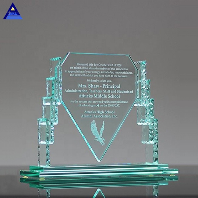Clear 3D Laser Engraved Armor Recognition Etched Glass Award Crystal Glass Cube Souvenir