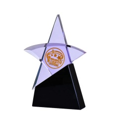 Creative Design Custom Transparent Star Shape Crystal Trophy And Awards With Black Base